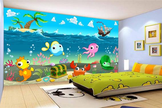 Painel Fotográfico Infantil Fundo Do Mar Bebê 5,5m² Azs45