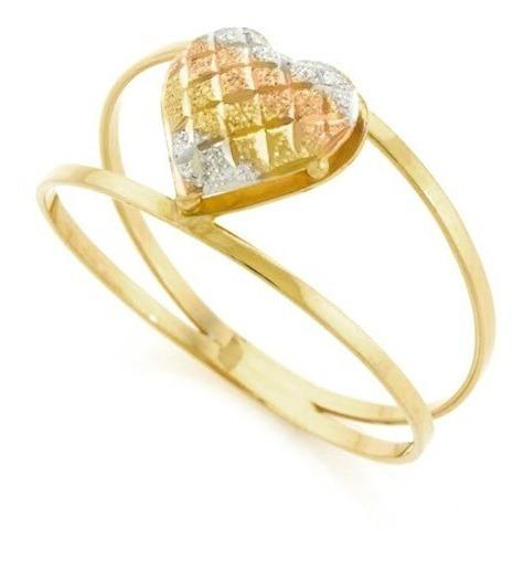 Anel De Ouro 18k Coração Tricolor - Viagold O28