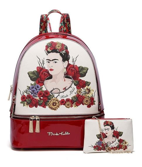 Mochila C/ Monedero Frida Kahlo Fl930l Red