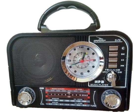 Rádio Retrô Grasep D-f8 Am/fm/sw Estilo Tf/usb/p2/mp3