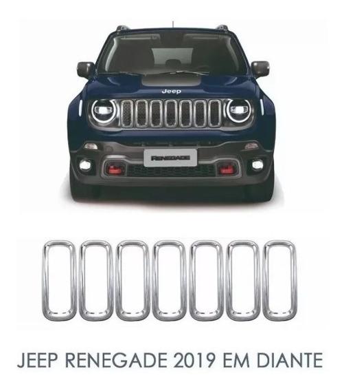 Moldura Aros Grade Frontal Cromado - Jeep Renegade 2019/..