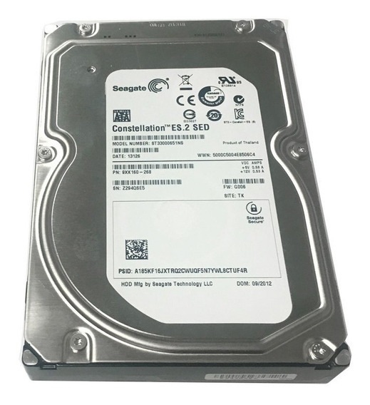 Hd 3tb Sata3 Seagate Constellation Es.2 - St33000651ns (3,5pol, 6gb/s, 7.200 Rpm, 64mb Cache)