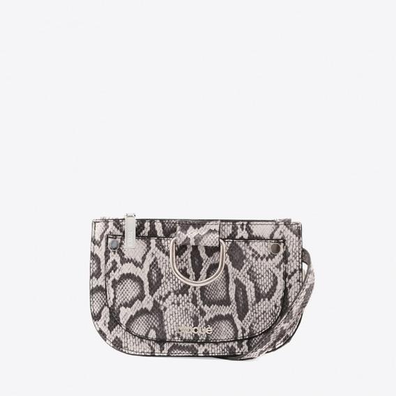 Blaque Mini Riñonera De Cuero Animal Print Serpiente Blanco