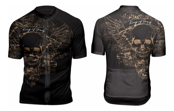 Camiseta Ciclismo Caveira Dourada - Manga Curta