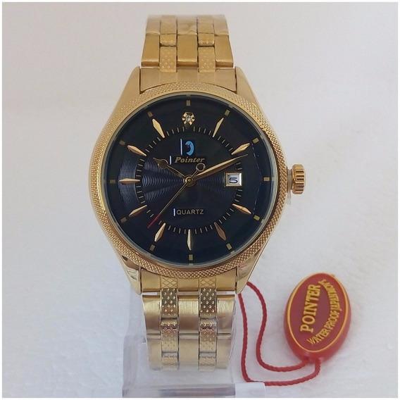 Relógio Feminino Pointer D059 Original Dourado Folheado A Ouro Vip 12x Sem Juros