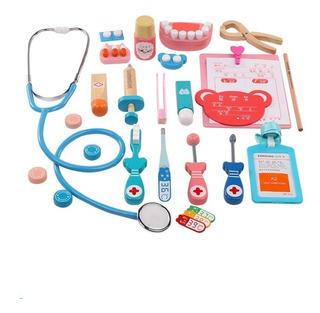 Kit Juego Doctor Niños Niñas Juguete Simulación De Madera