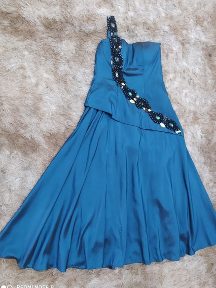Vestido Azul Petróleo, Plussize Tamanho 46, Usado