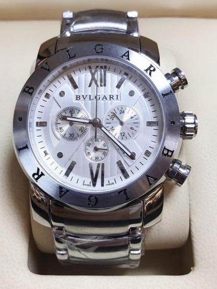 Relógio Masculino Bvllgari De Aço Fundo Branco