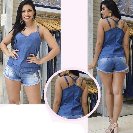 Regata Jeans Sol Original Premium Alcinha Regulável Com Lycr