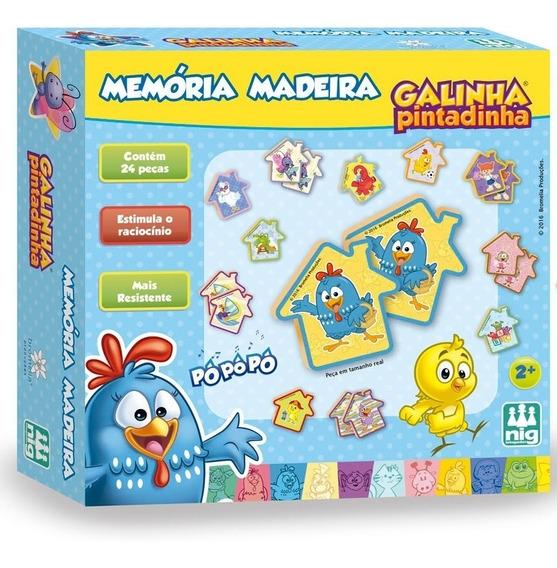 Jogo Da Memória Madeira 24 Peças - Galinha Pintadinha - Nig