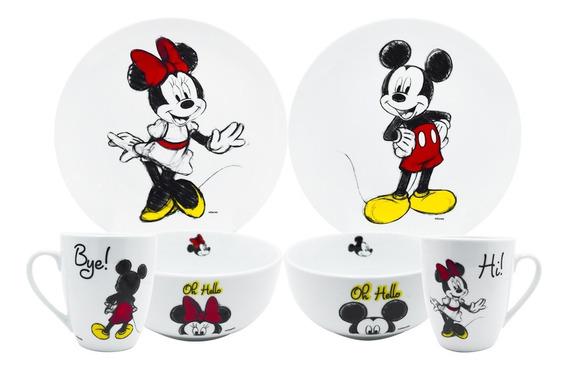 Vajilla Porcelana Mickey Minnie Mouse Disney 12pza Coleccion