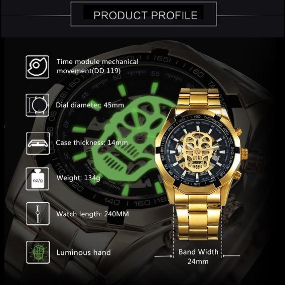 Relógio Caveira Twinner Dourado Skull Watch Waterproof Promo