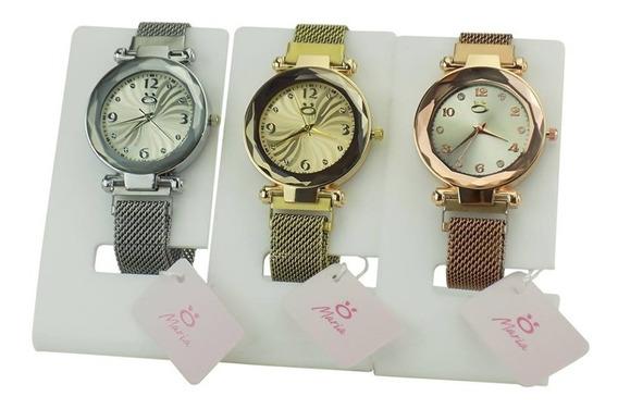 Lote 3 Relógio Feminino Dourado Pulseira Aço Ajustável 2020