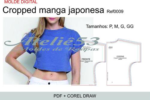 Molde Modelagem  Cropped Manga Japonesa+ Gabarito Sublimação