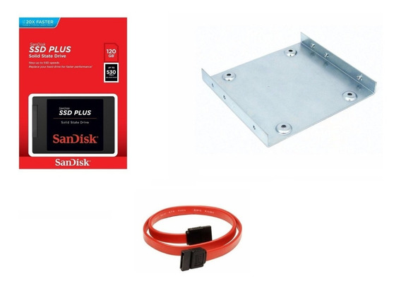 Kit Ssd Sandisk 120gb Plus + Suporte Desktop + Cabo Sata Nfe