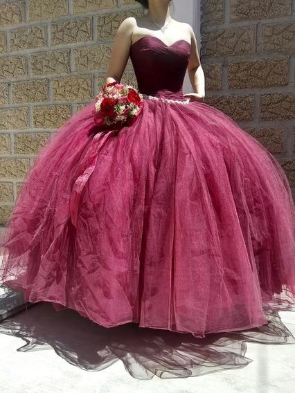 Vestido Xv Años Color Vino Detalles Dorados Vestidos Para