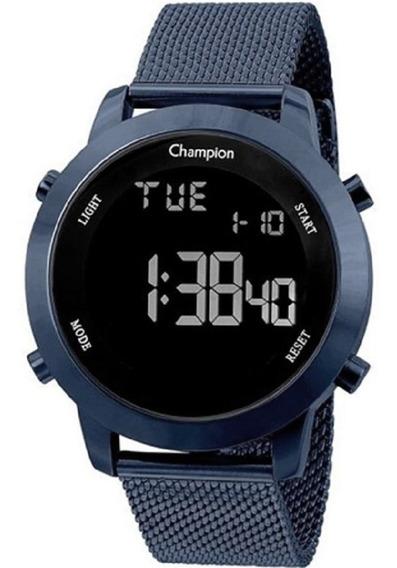 Relógio Champion Digital Azul Metálico Ch40062a Oferta