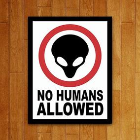 Placa Decorativa Nerd - No Humans Allowed