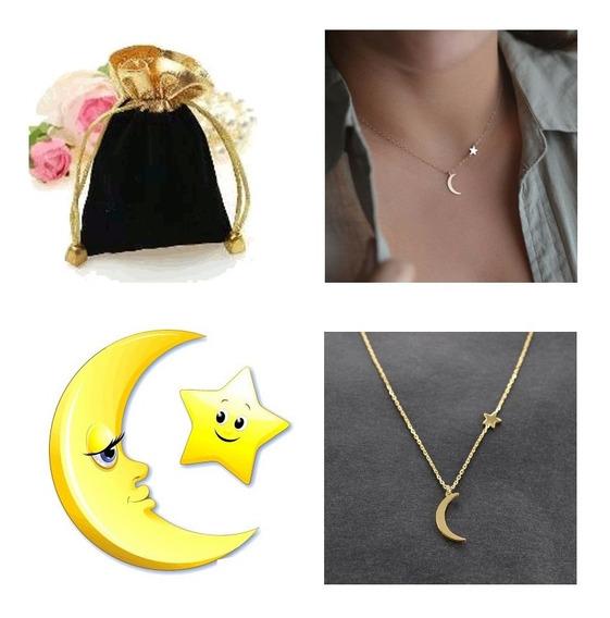 Gargantilha Moon Star Gold Lua Com Estrela Dourada +bag