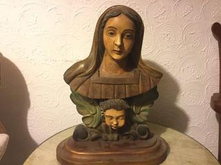 Escultura Antigua De Madera Fina Estofada Grande