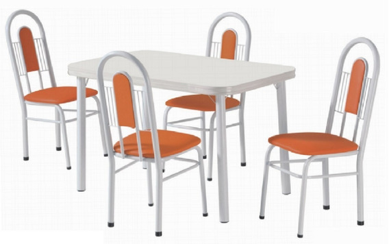 Conjunto De Mesa Orquidea 4 Cadeiras Cozinha Jantar-415/328