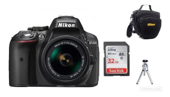 Câmera Nikon D5300af-p24-55mm Vr+32gb+bolsa+tripé