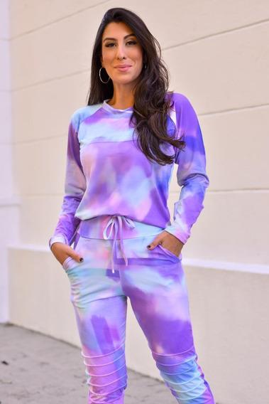 Conjunto Tie Dye Feminino Blusa Manga Longa E Calca Roupa