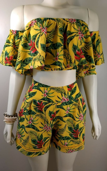 Blusa Cropped Ciganinha E Shorts Estampados A Pronta Entrega