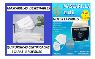 Mascarillas Lavables Minsa 3pliegue Doble Capa Ecologicas