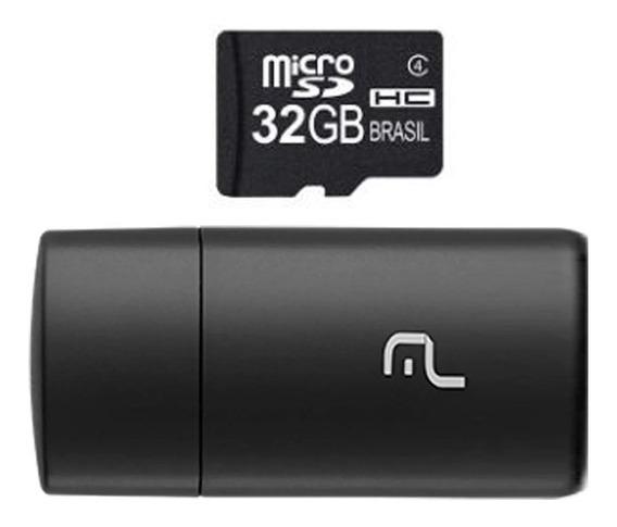Cartão De Memória Micro Sd Multilaser 32gb Adapt Usb Mc163