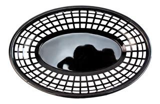 Canastas De Plastico Ovaladas Negro 36 Pz Comida Rapida New
