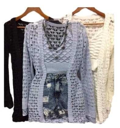 Kit 3 Conjunto Kimono Mais Cropped Trico Modinha Praia Top
