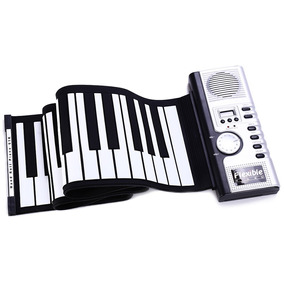 Flexível 61 Teclas Silicone Midi Digital Roll-up Teclado Pia