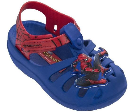 Sandália Papete Meninos Homem Aranha Spiderman Azul Vermelha Grendene C Clique+