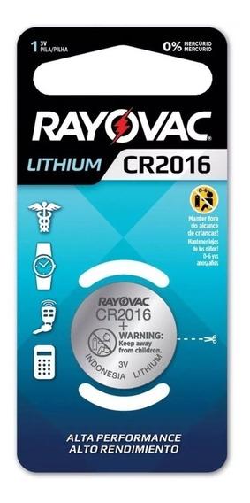 Botão Moeda Pilha Cr2016 3v Lithium Rayovac Alto Rendimento