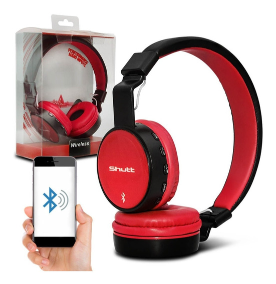 Fone De Ouvido Headphone Full Wireless Preto Vermelho Shutt