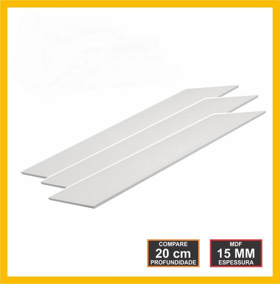 Kit 3 Prateleiras Mdf 15mm Branco 80x20 Grátis Suporte 80203