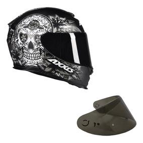 Capacete Axxis Skull Caveira + Viseira Fumê - Confira Cores