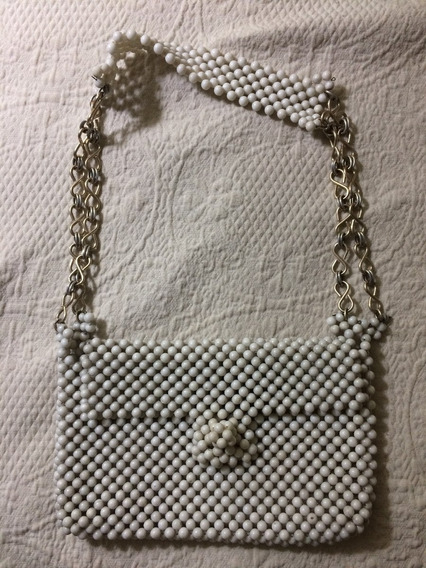 Cartera Cuentas Y Metal Blanca Vintage!!
