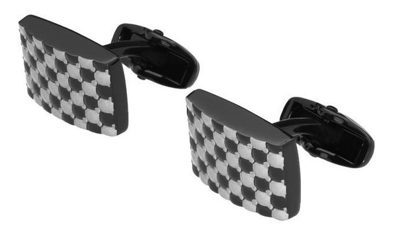 Mancuernillas Royal Flush Rectangulares Negras Con Grabado T