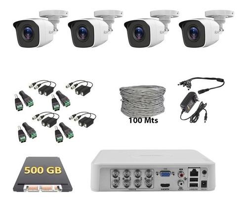 Imagen 1 de 6 de Kit Cctv Dvr 8 Canales 4 Cámaras Hd 720p Hik 500gb Balun Utp