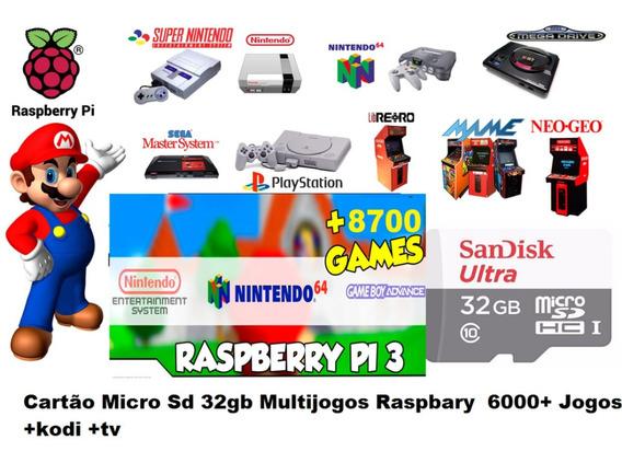 1 - Cartão De Memoria 32gb P/ Raspberry C/ Multijogos (176)