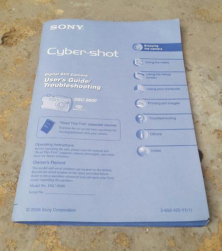 Manual Libro Original Instrucciones Sony Cyber Shot Dsc S600