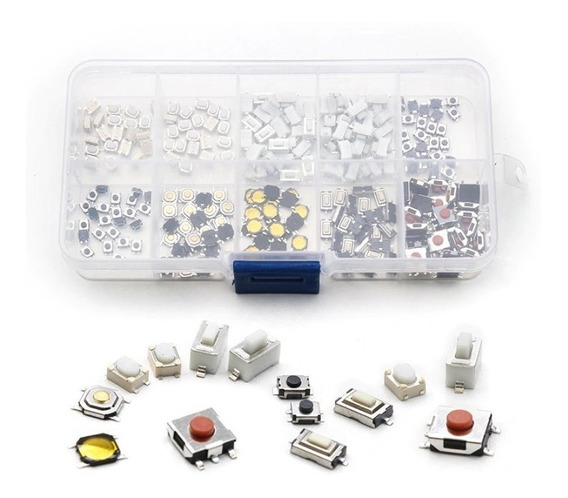 250 Pcs 10 Tipos Botãotátil Interruptor Smd + Case
