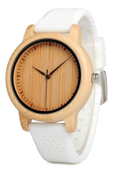 Relógio Feminino Bobobrid B06 Madeira P. De Silicone Branco