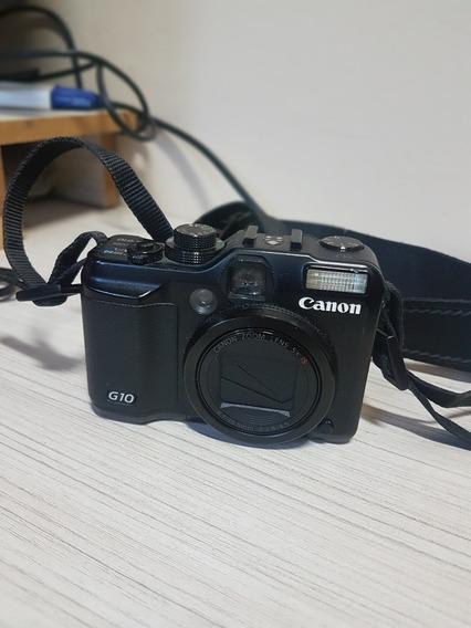 Câmera Canon Powershot G10 + 2 Baterias, Carregador E Flash