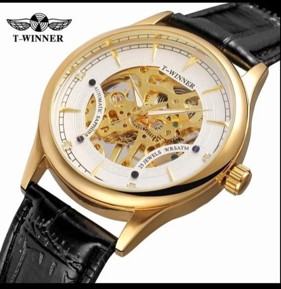 Relógio Automático Promoção Barato Luxo Oferta Couro E.19