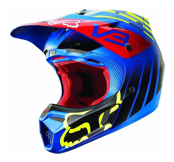 Casco V3 Savant Adulto Motocross Moto Azul Fox