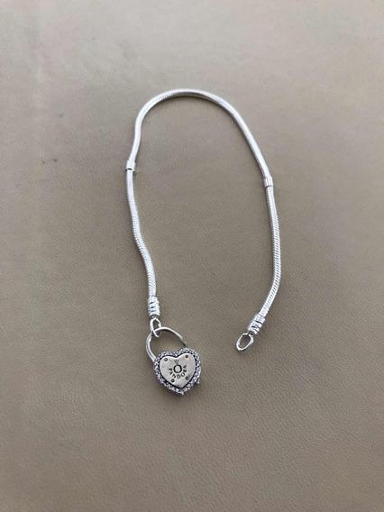 Bracelete Pandora Original Coração Prata 925 Legítima Ale