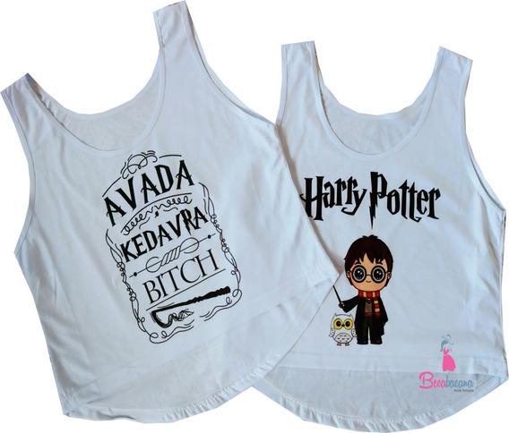 Blusa Cropped Harry Potter Feminina Regata Cavada Camiseta